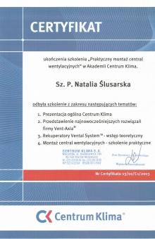 Certyfikat-Centrum-Klima-Natalia-Ślusarska-724x1024